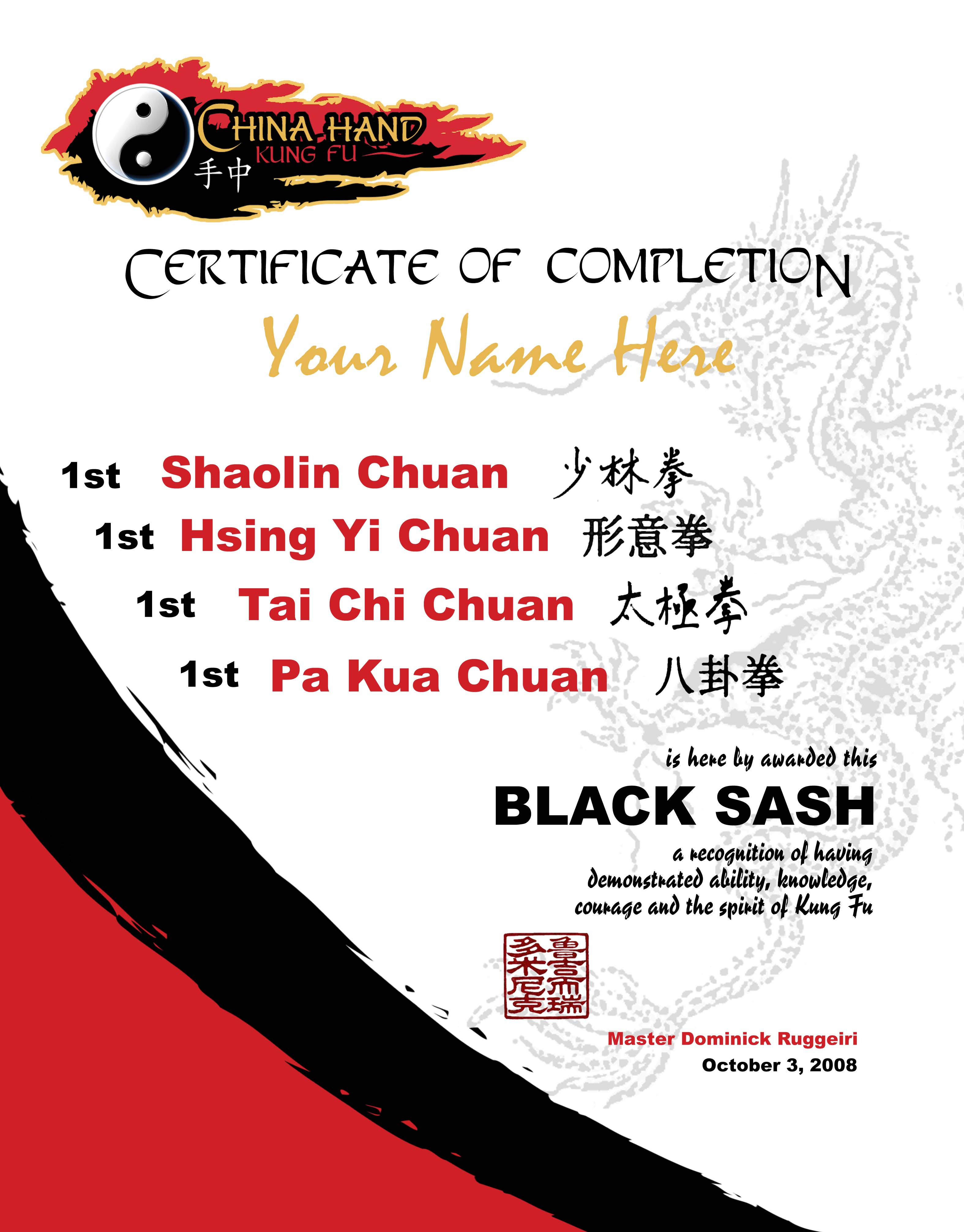 Black Sash for each Style & Level you Achieve.